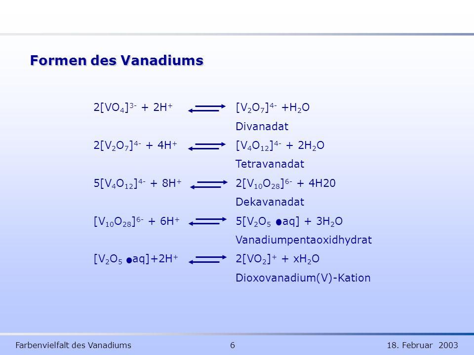 Formen des Vanadiums 2[VO4]3- + 2H+ [V2O7]4- +H2O Divanadat